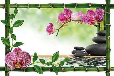 Stickersnews - Sticker mural trompe l oeil déco bambou Galets Orchidées réf 946 Dimensions - 60x40cm