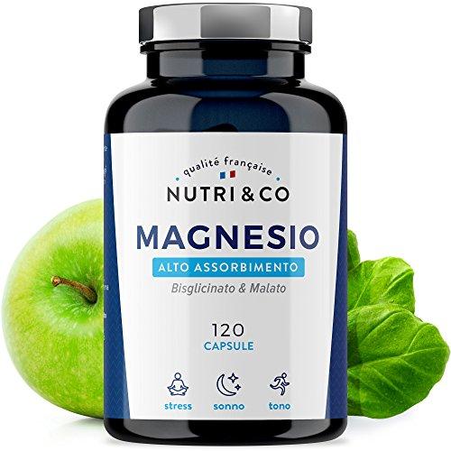 Magnesio Malato e Bisglicinato con Vitamine B | 120 Capsule da 506mg | Supremo in Biodisponibilità | Non Lassativo [Senza Magnesio Stearato né Citrato] | Integratore Fabbricato in Francia da Nutri&Co