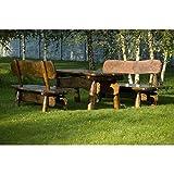 Sitzgruppe Rustikal 200 cm Massivholzmöbel Gartenmöbel Sitzgarnitur 5cm Holzstärke