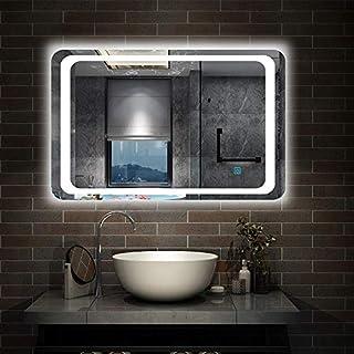 Aica 800 x 600mm Illuminated LED Bathroom Mirror Light with Touch Sensor + Demister Pad