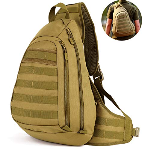 Selighting Militär Brusttasche Crossbody Bag Wasserdicht Umhängetasche Molle Slingbag Taktisch Dreieck Pack für Trekking Wandern Camping (Braun) -