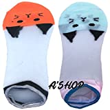 A'SHOP Platinum Unisex Cotton with Transparent White Net Multi-Coloured Orange & Green Pussy Cat Socks for GIRLS & WOMEN for Summers(Set of 2 pairs)