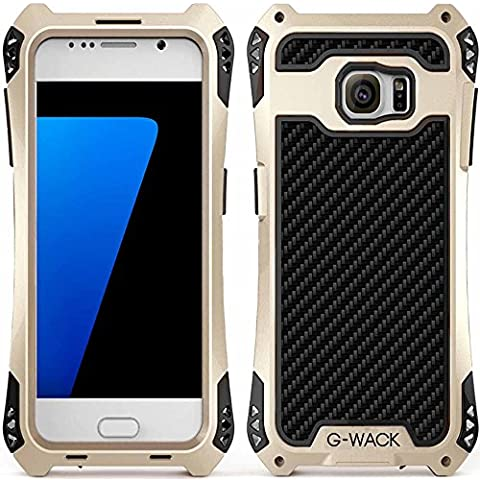 S7Edge Custodia Protettiva, g-wack fibra di carbonio Premium in alluminio protezione schermo in vetro temperato 9H Full Body Custodia impermeabile antiurto Dirt prova Custodia per Samsung Galaxy S7Edge, Gold-Black-Black, For Galaxy S7
