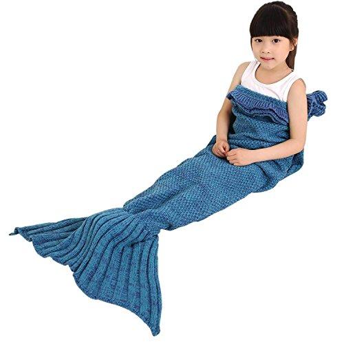 Meerjungfrau Decke, Meerjungfrau Flosse Decke für Kinder, Handgemachte Strickmuster Mermaid Blanket, alle Jahreszeiten Schlafsack, Meerjungfrau Schwanz Deckung (53 x 25,6 Zoll, Blau)