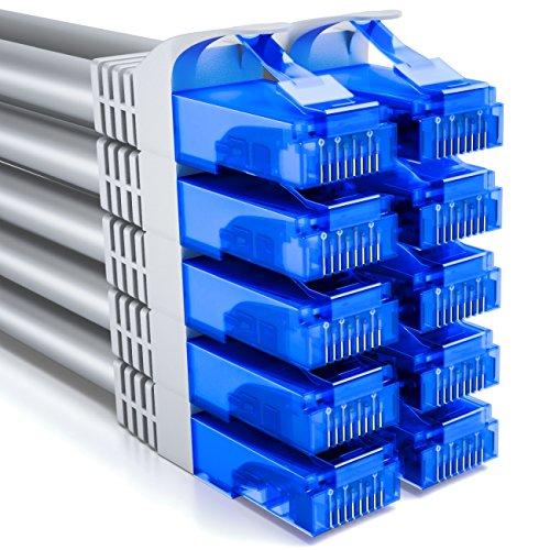 deleyCON 10x 0,5m CAT6 CAT6 Netzwerkkabel Set - U-UTP RJ45 CAT-6 LAN Kabel Patchkabel Ethernetkabel DSL Switch Router Modem Repeater Patchpanel - Grau