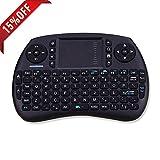 FOXTSPORT 2,4GHz Mini Drahtlose Tastatur mit Touchpad Maus Combo für Smart TV, HTPC, IPTV, Android TV Box, XBOX360, PS3, Beamer, Pad, PC, usw.(Schwarz)