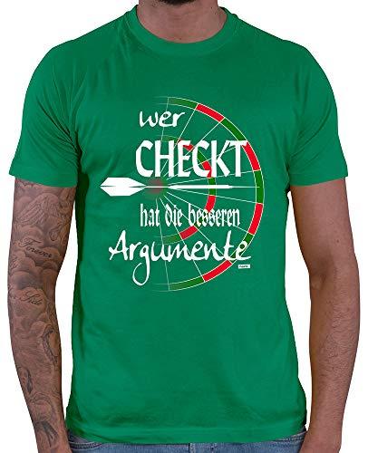 HARIZ Herren T-Shirt Wer Checkt Hat Die Besseren Argumente Dart Sprüche Dartscheibe WM Plus Geschenkkarten Grün XL