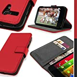 igadgitz Rojo Funda Cartela Eco Piel para Motorola Moto G 4G 1 ª Generación XT1032 XT1033 XT1039 con Ranuras para las Tarjetas + Protector Pantalla