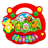 Kentop 24-Key Piano Toys for Kids Cartoon Animal Multi-function Electronic Keyboard for Kids Early Educational Game Learning(Random Color)