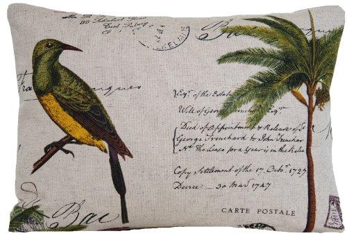 Vogel und Palm Tree Kissenbezug Grün Design Dekorativer Überwurf-Kissenbezug Vintage Look Post Briefmarken Karte Birds Tokelau Inseln Paris (Palm Nackenrolle Kissen)
