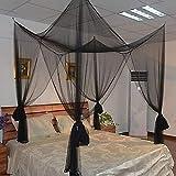 BAIVIT Übergroßes Moskitonetz mit 4 Türen, Insekten-Moskito-Fliegenwanzennetz-Bildschirmbett perfekt drinnen im Freien,Black
