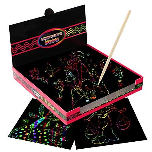 Kratzbilder für Kinder, EXTSUD 100 Stücke Kinder Kratzpapier mit Stift Kritzelkarten Magic Color Kratzkunst Kreativ Geschenk für Mädchen 6 7 8 9 Jahre