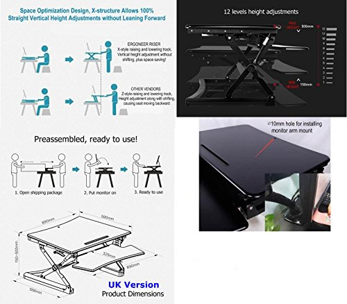 ERGONEER Preassembled Healthy Sit-stand Elevating Computer Workstation | Dual Monitor Wide Tabletop Standing Desk Converter | Height Adjustable Desktop Riser w/ Squeeze Handles (89CM)