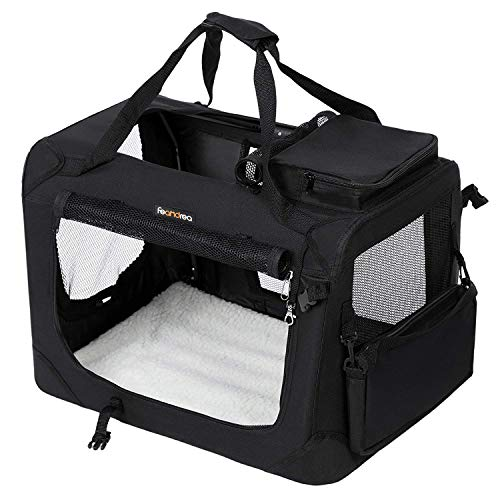 FEANDREA Hundebox Transportbox Auto Hundetransportbox faltbar Katzenbox Oxford Gewebe Schwarz (102 x 69 x 69 cm)