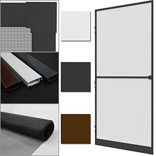 PROHEIM Insektenschutz-Tür Comfort 100 x 215 cm Alu-Rahmen + Fliegengitter sind kürzbar Premium Fliegenschutz: Dichtungsbürste Schließmechanismus Mittelsprosse Trittblech, Farbe:Anthrazit