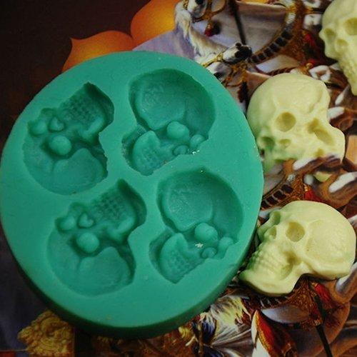 Sukisuki 3D-Totenkopf-Form aus Silikon für Fondant, Schokolade, Süßigkeiten, -