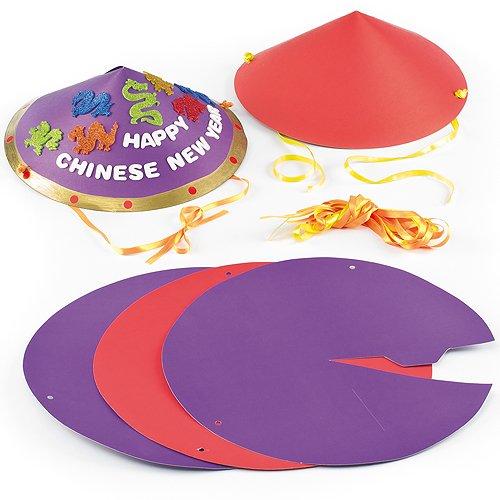 Bastelsets Chinesische Hüte für Kinder zum Gestalten und Spielen (6 Stück)