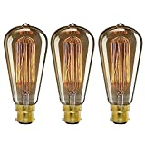 ONEPRE Pack of 3 Vintage Edison Light Bulb BC B22 Bayonet 40W Retro Decorative Filament Light Bulb Dimmable