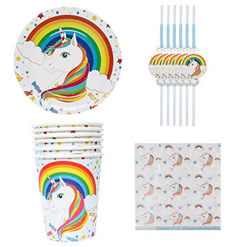 28 teiliges Einweg-Set Party-Set Einhorn Muster Papierteller Teller Becher Servietten Trinkhalme für Kindergeburtstag