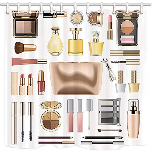 AdaCrazy Make-up Kosmetik Lippenstift Parfüm mit goldenen Kosmetiktasche für Frauen Duschvorhänge 3D-Druck Wasserdicht beschichtetes Polyestergewebe Bad mit 12 Haken 71 Zoll - Dusche Vorhang Klar Liner