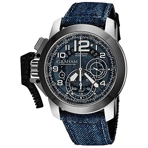 Graham Men's 47mm Blue Denim Band Steel Case Sapphire Crystal Automatic...
