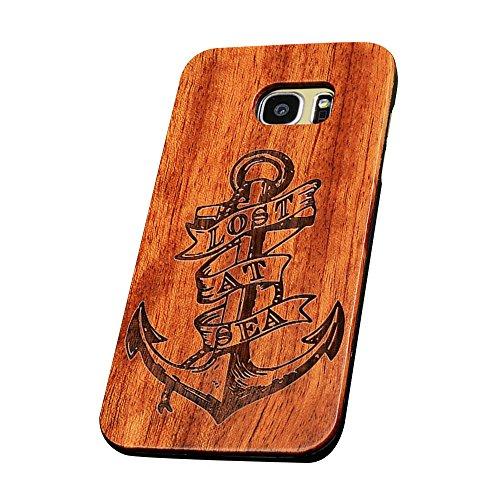 Forepin® Vero Legno Legna Wood Cover Caso Con Plastica Telaio Custodia Protezione Copertura per Samsung Galaxy S7 Edge