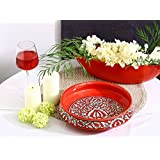 Decorative Bowl 10 Inch Ceramic/Stoneware In Red Mughal (1 Pc) Handmade By Caffeine