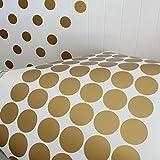 Winhappyhome Pseudo Gold Material Runder Punkt Wand Aufkleber für Schlafzimmer Wohnzimmer Hintergrund Entfernbare Dekor Abziehbilder (7cm, 32pcs)