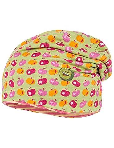maximo Baby-Mädchen Mütze Beanie, Short, Reversible Mehrfarbig (Hellgrün-Äpfel 2), 49 (Reversible Sonnenhut)