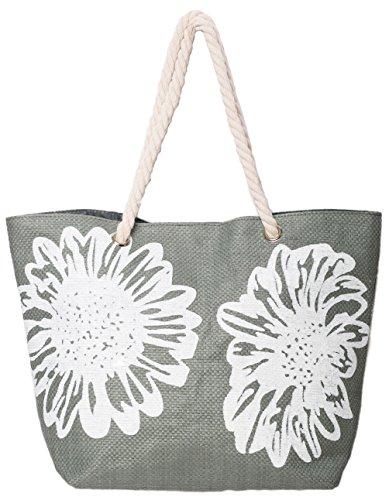 Strandtasche Damen Schultertasche Shopper Sommer Tasche 46 x 33 CMS Blumen-Muster Airee Fairee (Grau)