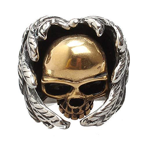 Budazo Herren Titan Stahl Gotisch Gold Schädel Kopf Flügel Ringe,Größe 54 (17.2) -