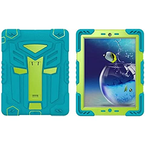 Funda para iPad 2, 3y 4, Meaci (TM) Apple iPad 2Almohadilla de silicona y plástico Combo con función atril de doble capa a prueba de golpes Prueba de Niños funda protectora cartucho cian verde