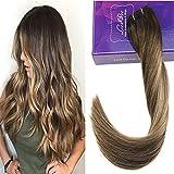LaaVoo 14Pouce Brazilian Hair Bundles Vrai Cheveux Tissage en Couleur Marron Fonce Balayage Ombre Blonde Caramel Naturel Tissage Perruque 100G