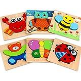 Aiduy Holzpuzzle ab 1 2 3 Jahren, 6 Stück Steckpuzzle Holz ab 1 2 Jahren Baby, Holzpuzzle für Kleinkinder Kinder