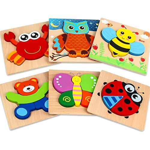 Aiduy Holzpuzzle ab 1 2 3 Jahren, 6 Stück Holzpuzzle Baby Puzzle ab 1 2 Jahr, Steckpuzzle Holz für Kleinkind Kinder