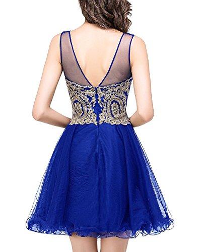 CoutureBridal® Damen Kleid Kurze Tulle Applique Abendkleid Brautjungferkleid ParteiKleid Lilac