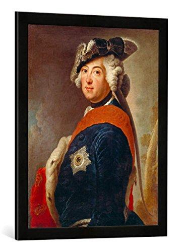 Gerahmtes Bild von Antoine Pesne Friedrich der Große, König von Preußen, Kunstdruck im hochwertigen handgefertigten Bilder-Rahmen, 50x70 cm, Schwarz matt