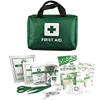 Home Treats Essential 90 Piece Travel First Aid Kit Bag For Home Or Work. Supplies Including Emergency Blanket, Ice Packs, Eyewash, Bandages, Plasters, Wound Pad, Eye Pad, Scissors, Tweezers, Gloves