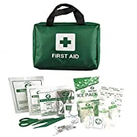 home treats essential 90-210 piece travel first aid kit bag. for home, work, camping, sports. including emergency blanket, ice packs, eyewash, bandages, plasters, wound pad, eye pad, scissors, tweezers, gloves