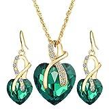 Sunbem Flash Diamond Crystal Love Set Jewelry Necklace Earrings Pendant,Green