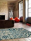 benuta Teppich Patchwork-Mosaico Blau 80x150 cm | Moderner Teppich für Wohn- und Schlafzimmer
