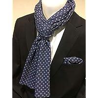 Exklusiver Herren Schal mit passendem Einstecktuch in Blau mit Kleinem Muster