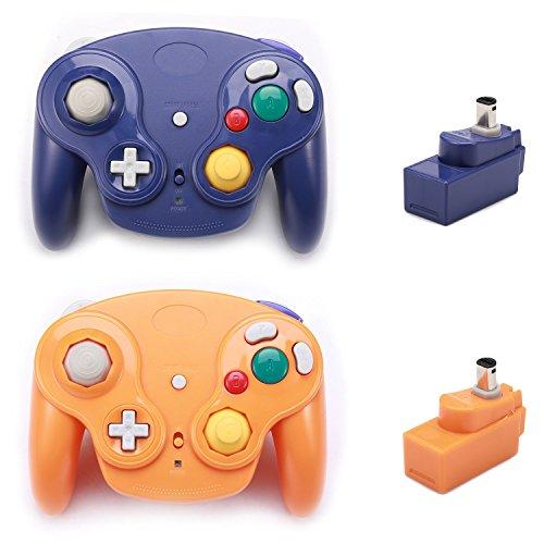 Poulep Classic 2,4 G Wireless Controller Gamepad mit Receiver Adapter für Wii U Gamecube NGC GC Purple and Orange2 - Adapter Classic Wii Controller