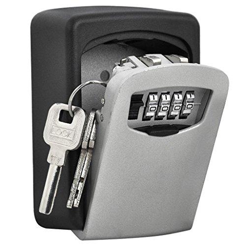 BYBO Boîte de rangement mural Safe Key Murale à 4 chiffres clés Coffre haute sécurité Combination Lock stocker les clés de -Boite à clé sécurisée