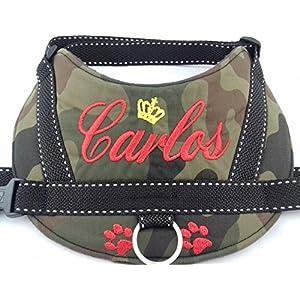 Hundegeschirr S M L XL XXL Brustgeschirr mit Namen bestickt Camouflage rot Tarnung Optik
