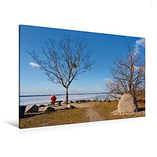 Calvendo Premium Textil-Leinwand 120 cm x 80 cm quer, Gedenkstein am Sedlitzer See | Wandbild, Bild auf Keilrahmen, Fertigbild auf echter Leinwand, Leinwanddruck: Lausitzer Seenland Natur Natur