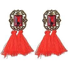 Borla flecos pendientes, Ularma Las mujeres de moda diamantes de imitación lana borlas pendientes joyería hermosa Retro
