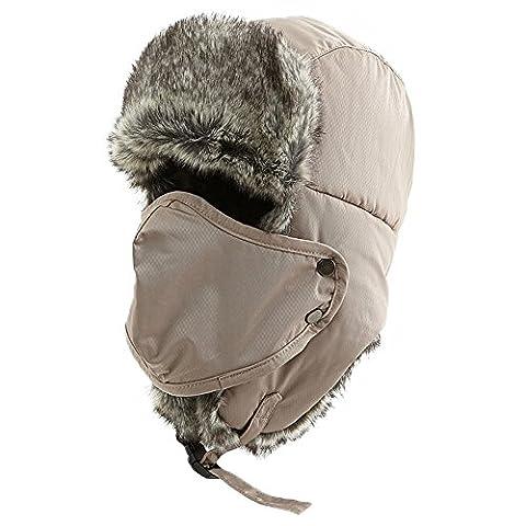 SIGGI khaki Fellmütze Erwachsenen für Herren Bomber Hut Unisex Flieger Hut Winter Trapper Jagd Mütze Pilot Hut mit Maske