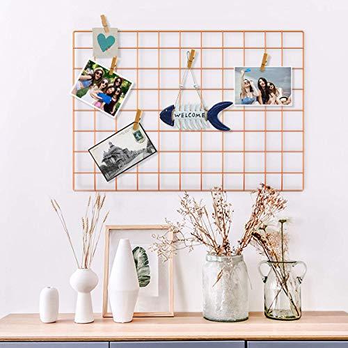 Yuede Eisen Gitter Grid Panel Set 2 Stück,Grid Mesh Display Panel dekorative Eisen Rack Clip Foto Wand hängen Bildwand, Ins Art Display Fotowand, 25,6 x 17,7 Zoll(Rose Gold) -