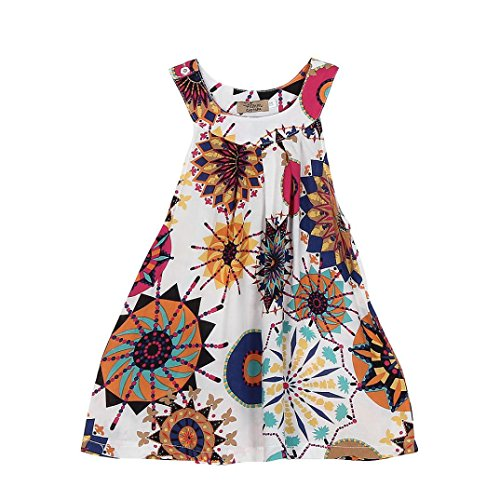 BESTOPPEN Toddler Baby Girls Cotton Bohemian Princess Party Dress Girl Cute Backless Flower Printing Swing Dresses Tutu Sleeveless Beach Sundress Dress Clothes For 2-6 Years Old (110/3T, White)